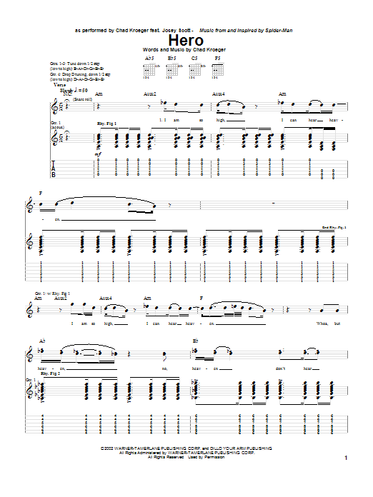 Chad Kroeger Hero sheet music preview music notes and score for Guitar Tab including 6 page(s)