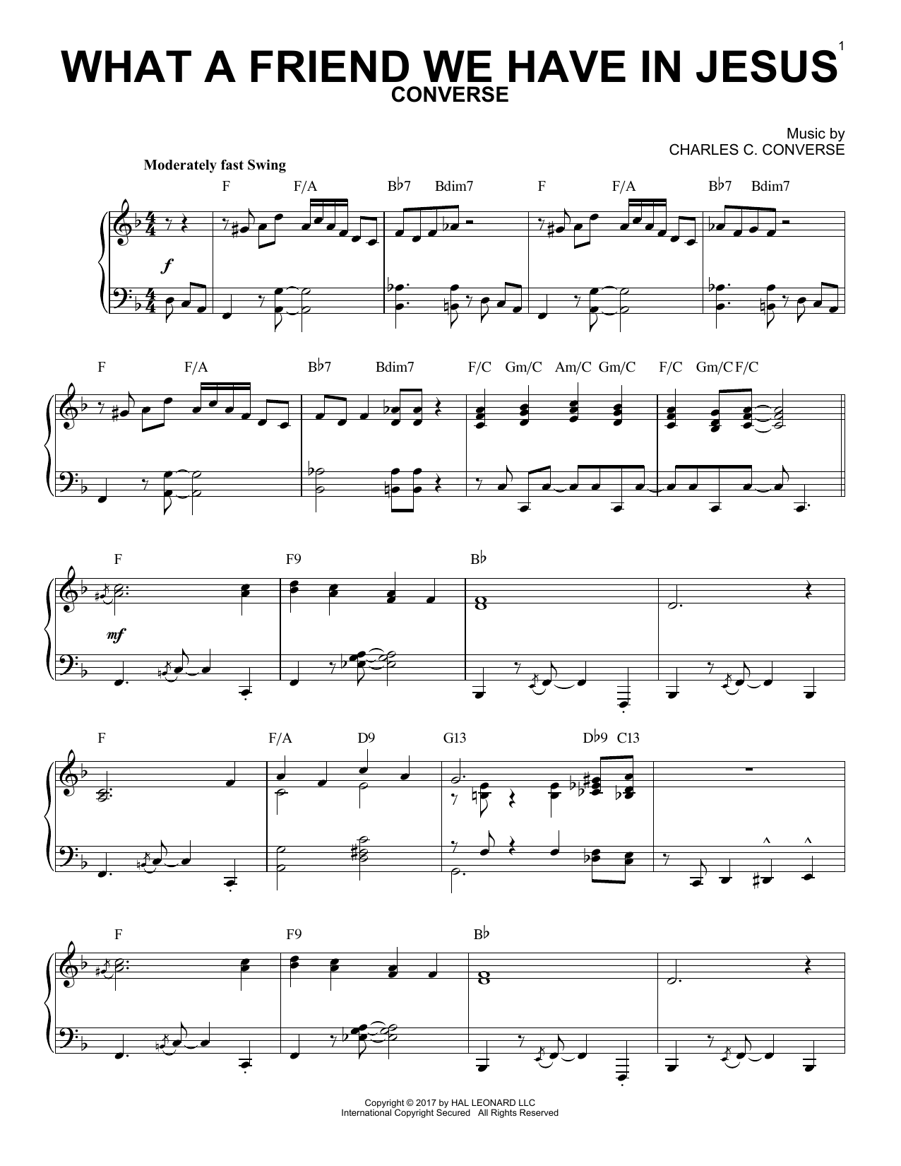 Download Charles C. Converse 'What A Friend We Have In Jesus' Digital Sheet Music Notes & Chords and start playing in minutes
