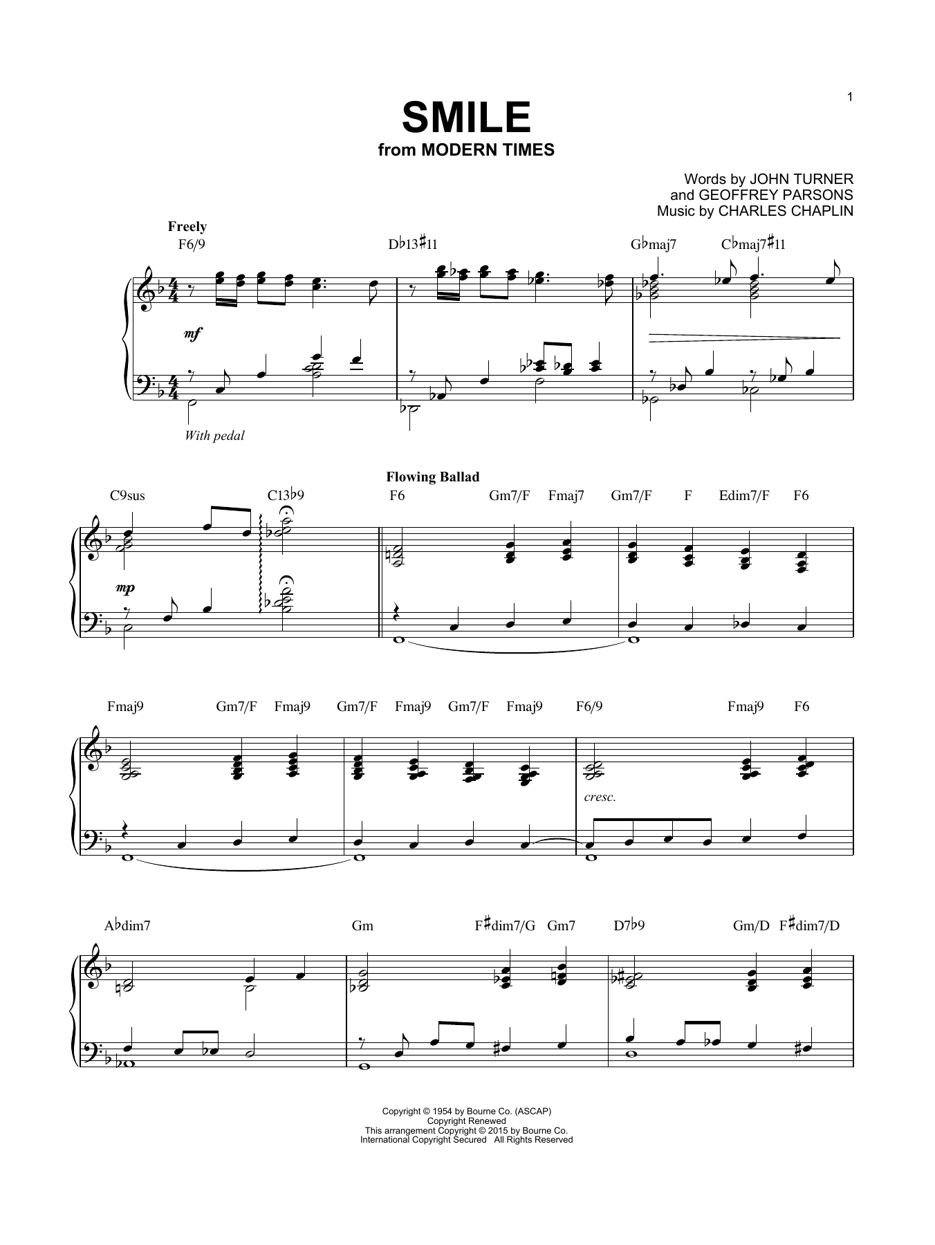 Download Charles Chaplin 'Smile' Digital Sheet Music Notes & Chords and start playing in minutes