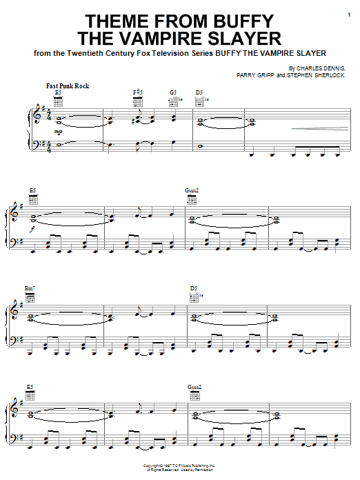 Download Nerf Herder 'Theme From Buffy The Vampire Slayer' Digital Sheet Music Notes & Chords and start playing in minutes