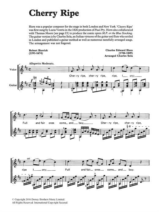 Download Charles Edward Horn 'Cherry Ripe' Digital Sheet Music Notes & Chords and start playing in minutes