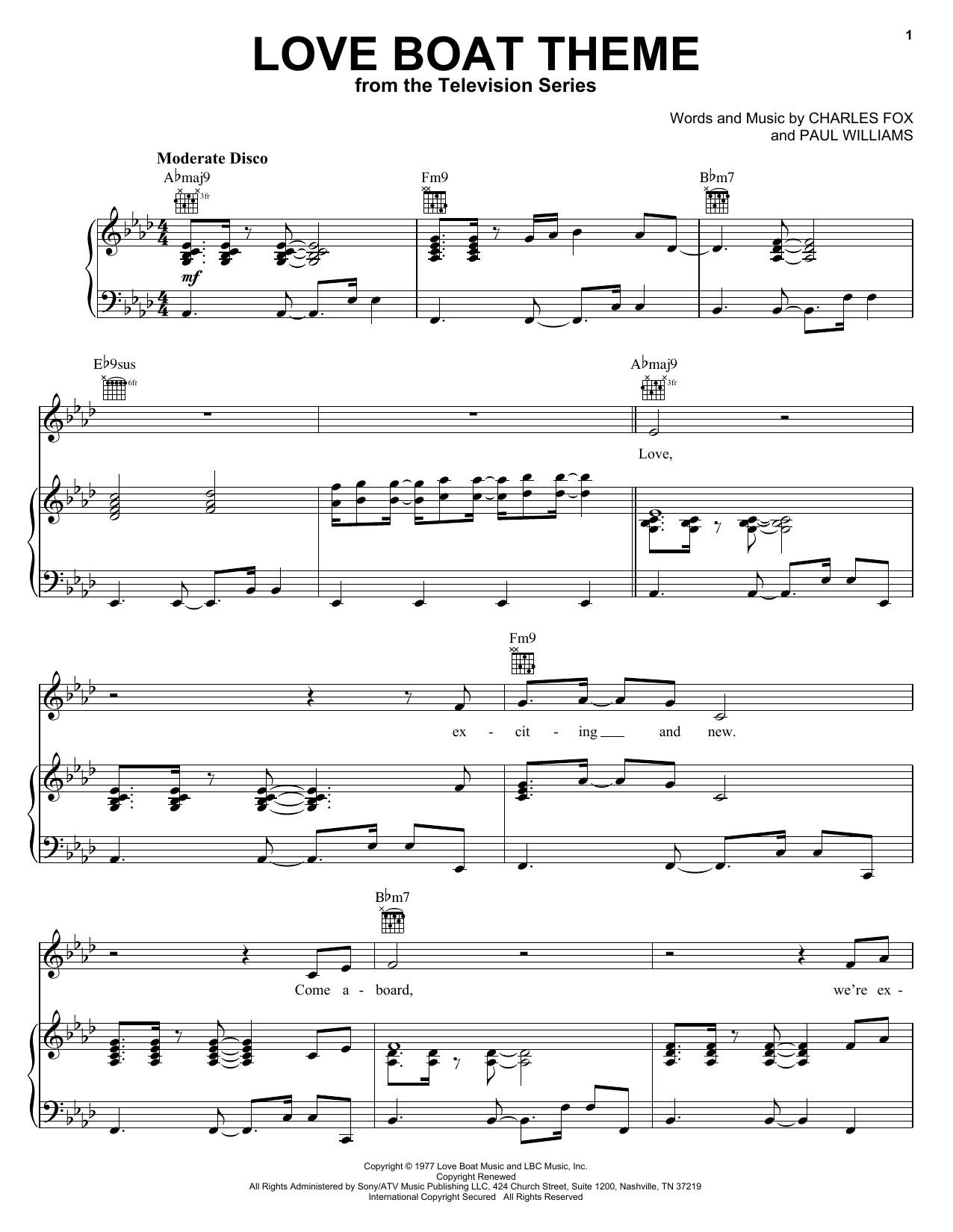 Download Charles Fox 'Love Boat Theme' Digital Sheet Music Notes & Chords and start playing in minutes