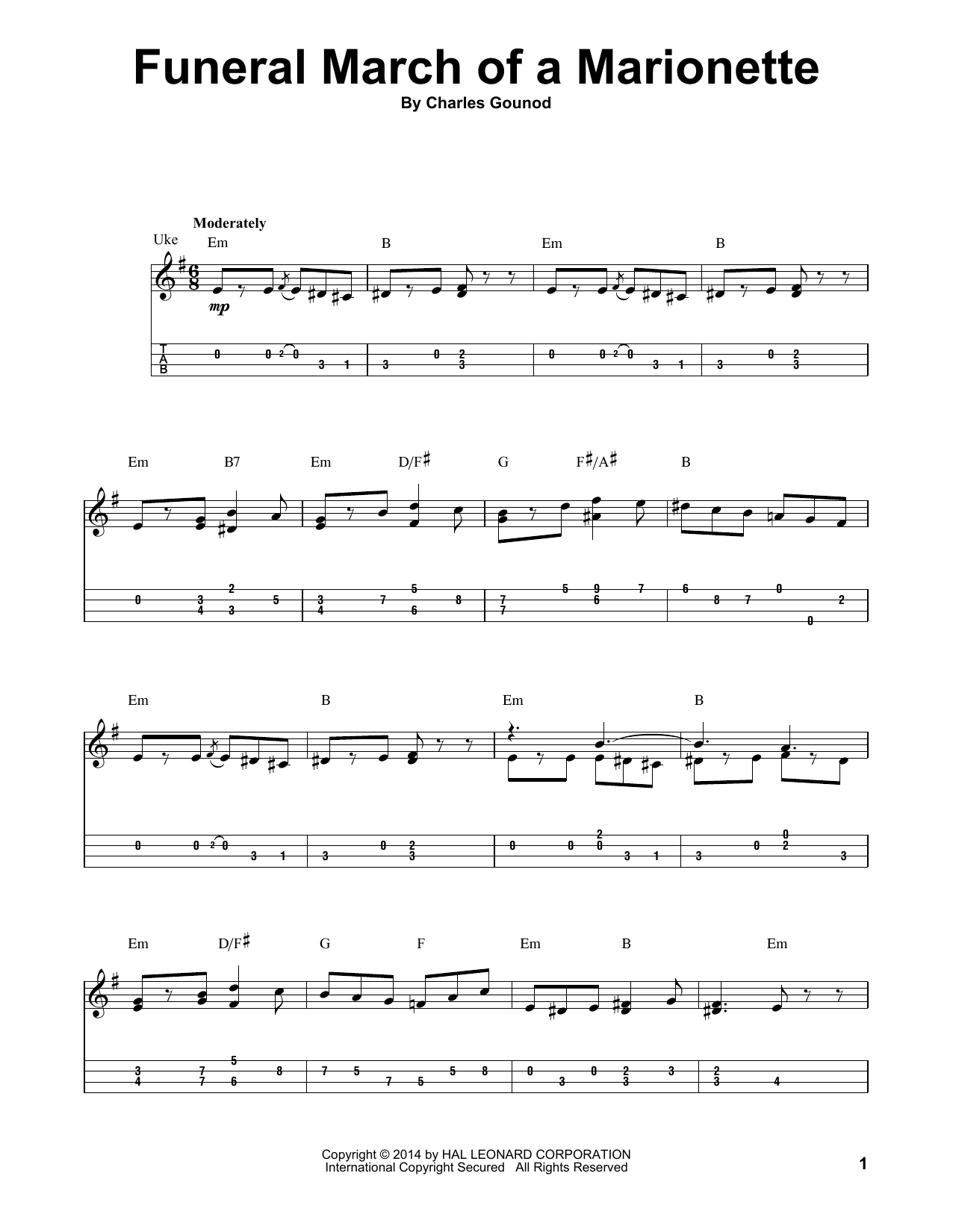 Charles Gounod Funeral March Of A Marionette sheet music preview music notes and score for Easy Piano including 2 page(s)