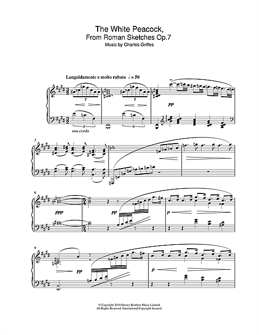 Download Charles Griffes 'The White Peacock, From Roman Sketches Op.7' Digital Sheet Music Notes & Chords and start playing in minutes