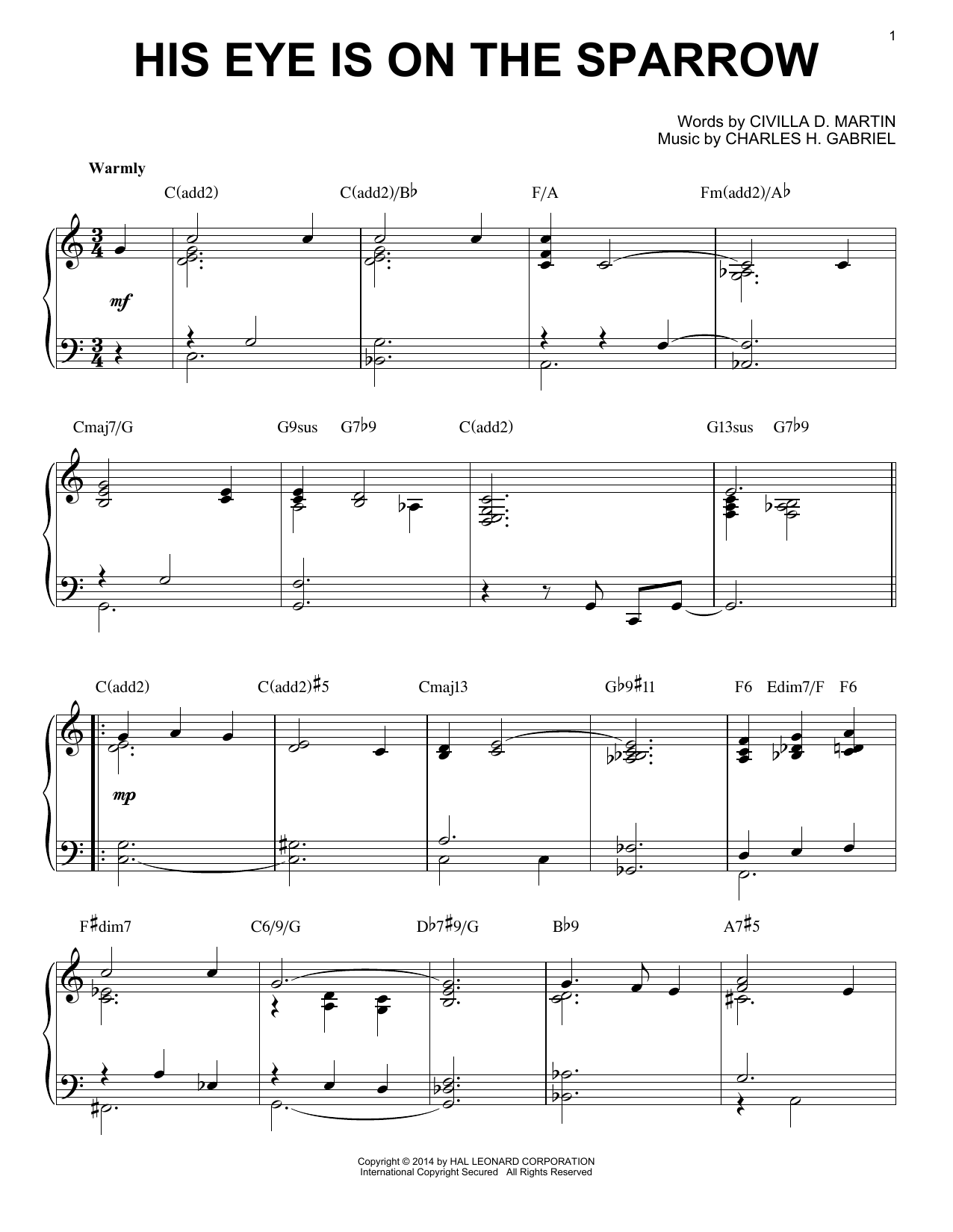 Download Charles H. Gabriel 'His Eye Is On The Sparrow' Digital Sheet Music Notes & Chords and start playing in minutes