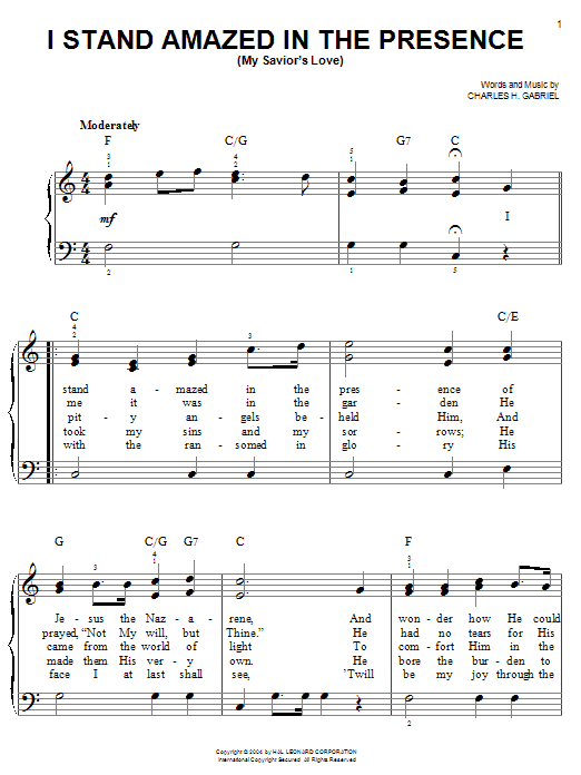 Download Charles H. Gabriel 'I Stand Amazed In The Presence (My Savior's Love)' Digital Sheet Music Notes & Chords and start playing in minutes