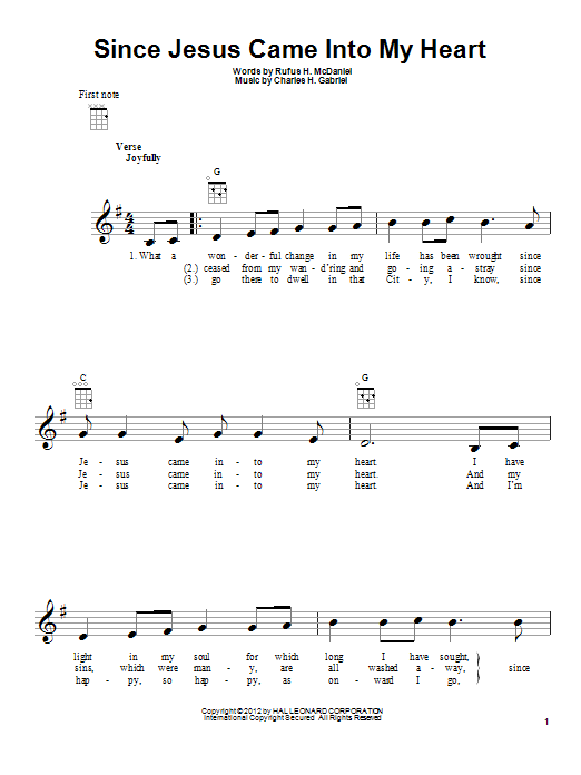 Charles H. Gabriel Since Jesus Came Into My Heart sheet music preview music notes and score for Ukulele including 2 page(s)