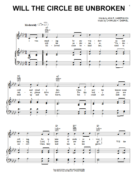 Download Charles H. Gabriel 'Will The Circle Be Unbroken' Digital Sheet Music Notes & Chords and start playing in minutes