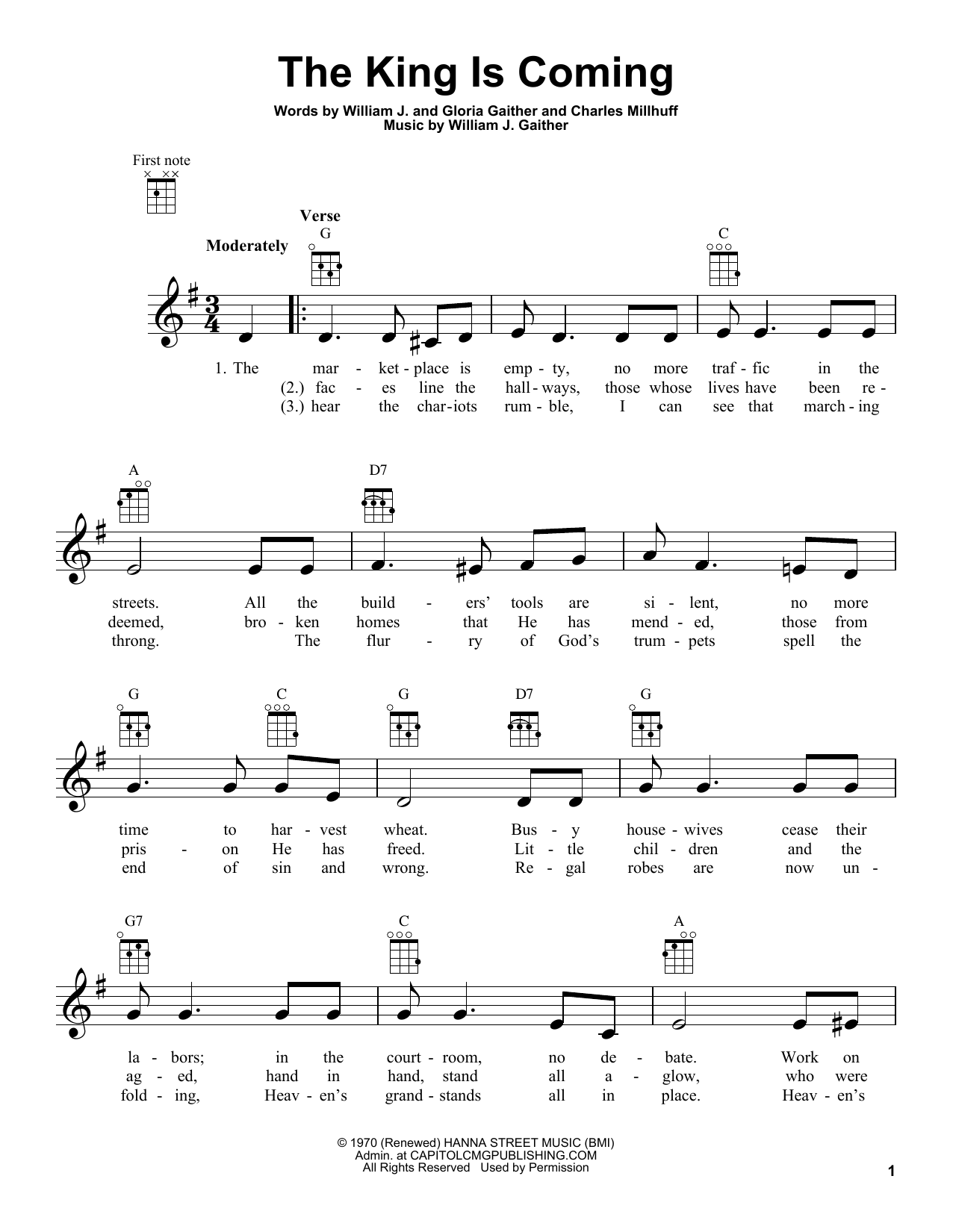 Charles Millhuff The King Is Coming sheet music preview music notes and score for Super Easy Piano including 2 page(s)