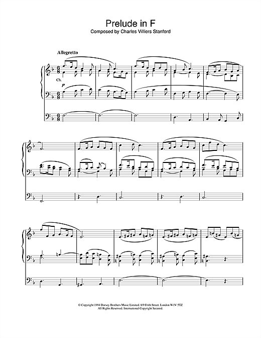 Charles Villiers Stanford Prelude in F sheet music notes and chords