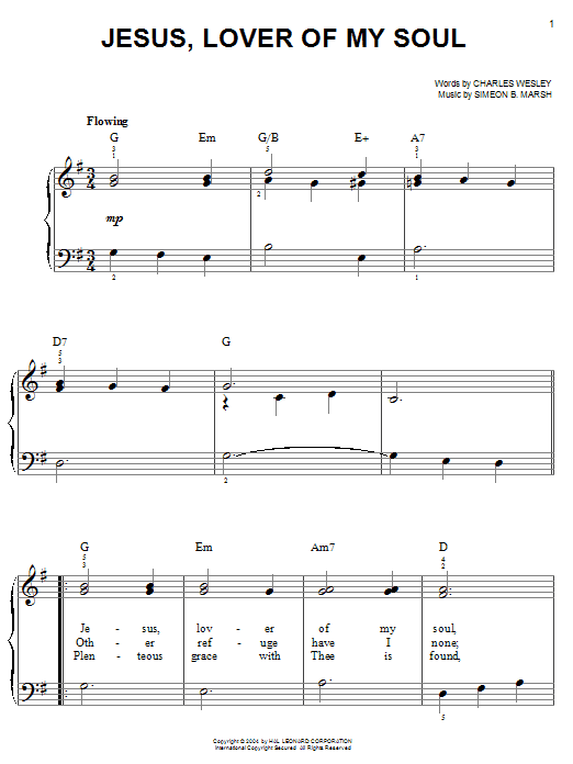 Charles Wesley Jesus, Lover Of My Soul sheet music notes and chords