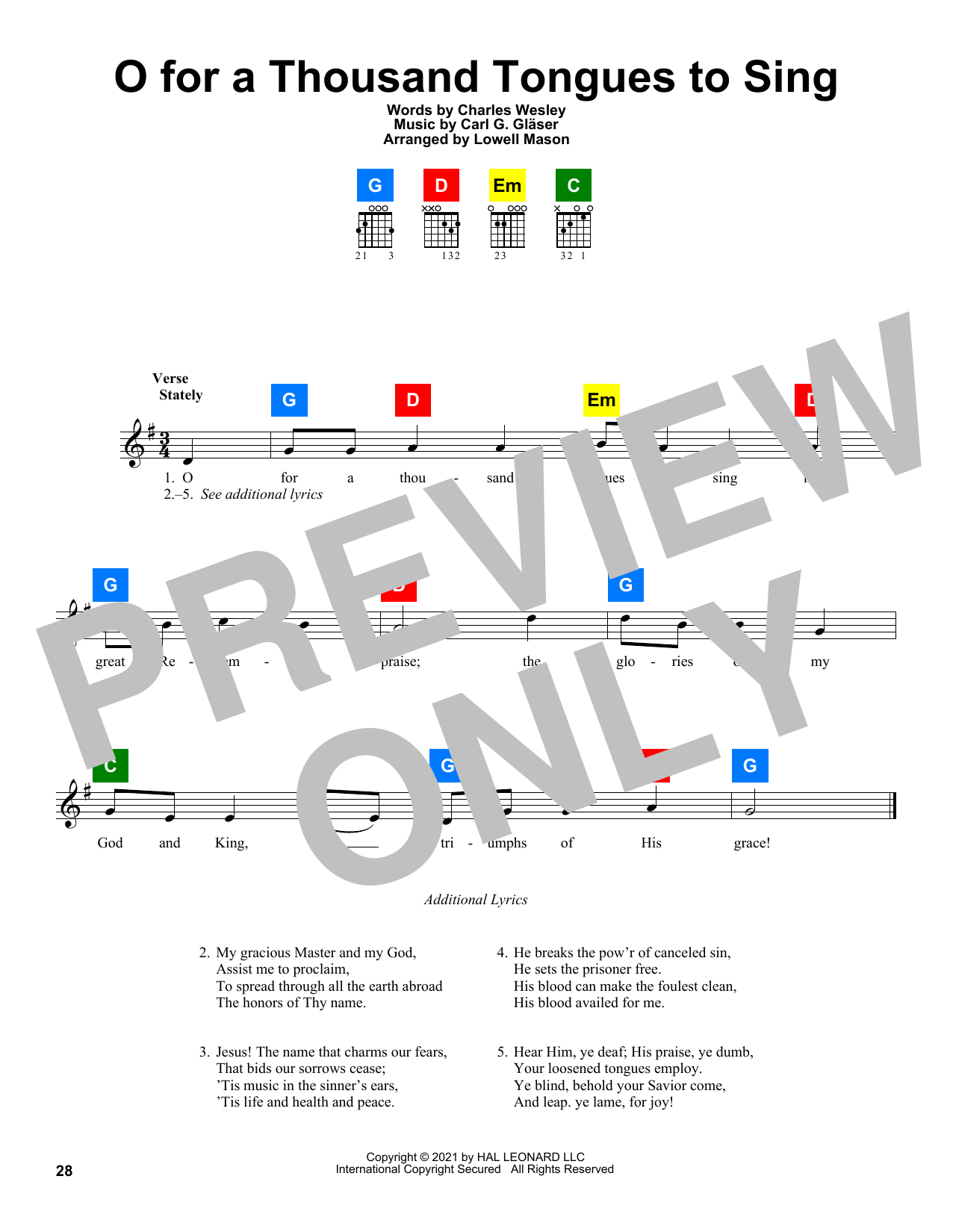 Charles Wesley O For A Thousand Tongues To Sing sheet music preview music notes and score for SATB Choir including 10 page(s)