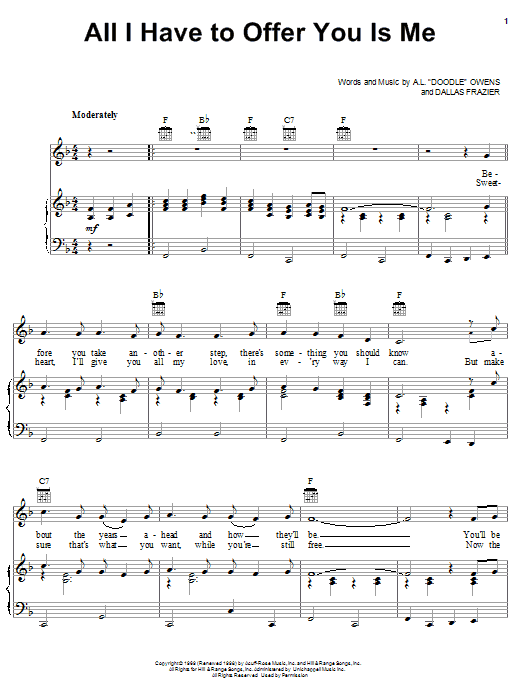 Charley Pride All I Have To Offer You Is Me sheet music preview music notes and score for Piano, Vocal & Guitar (Right-Hand Melody) including 3 page(s)