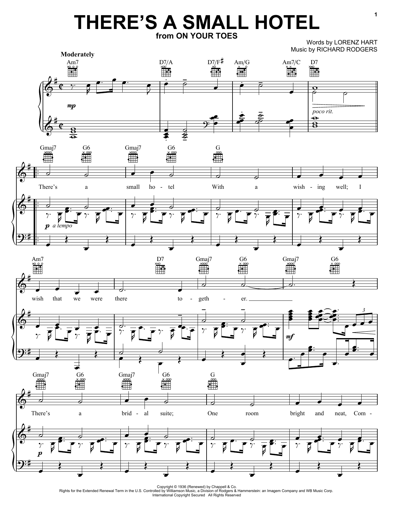 Charlie Byrd There's A Small Hotel sheet music notes and chords
