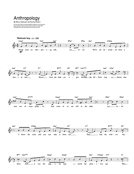Charlie Parker Anthropology sheet music notes and chords