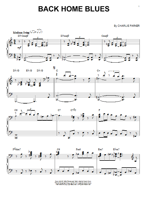 Download Charlie Parker 'Back Home Blues' Digital Sheet Music Notes & Chords and start playing in minutes