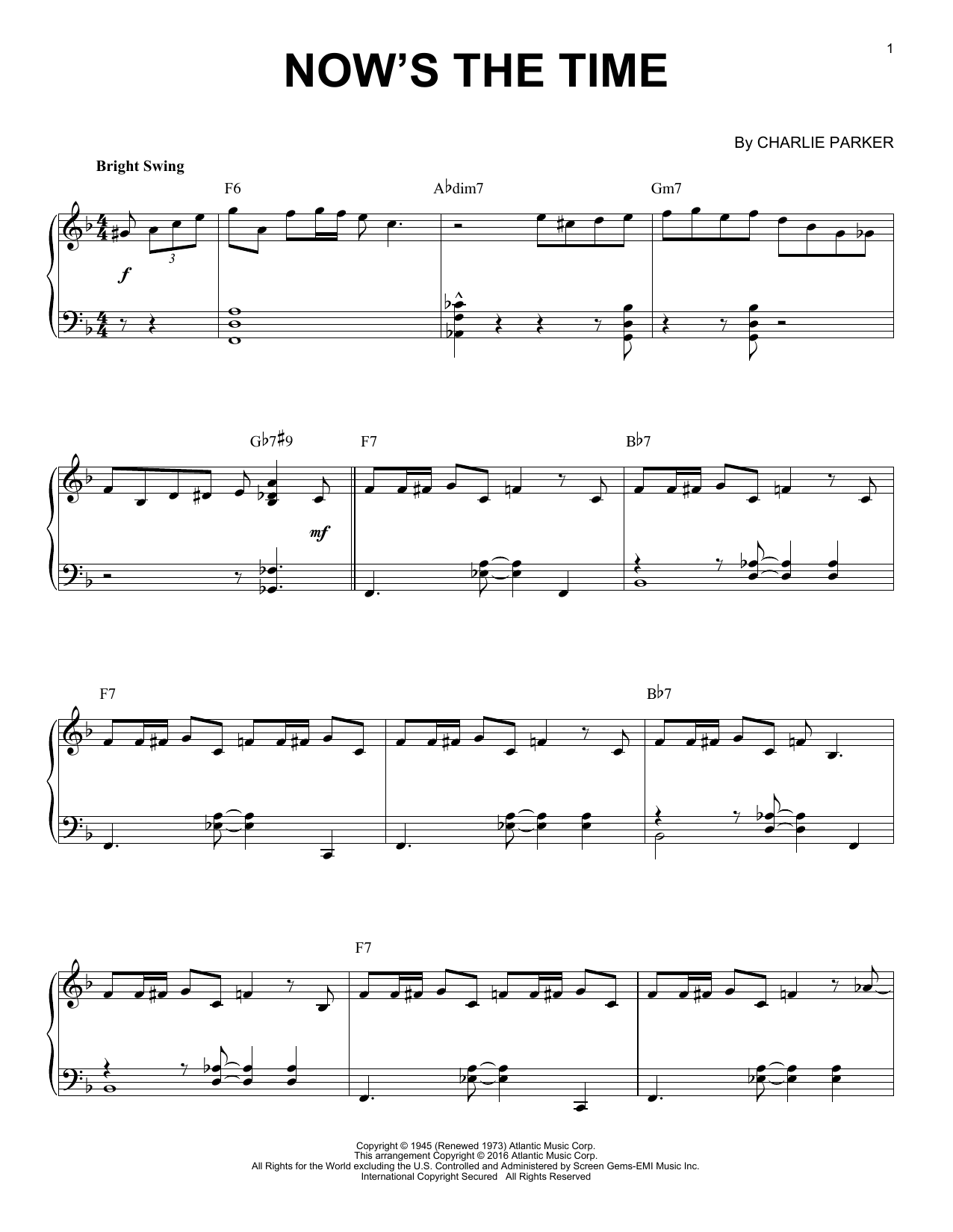 Download Charlie Parker 'Now's The Time' Digital Sheet Music Notes & Chords and start playing in minutes