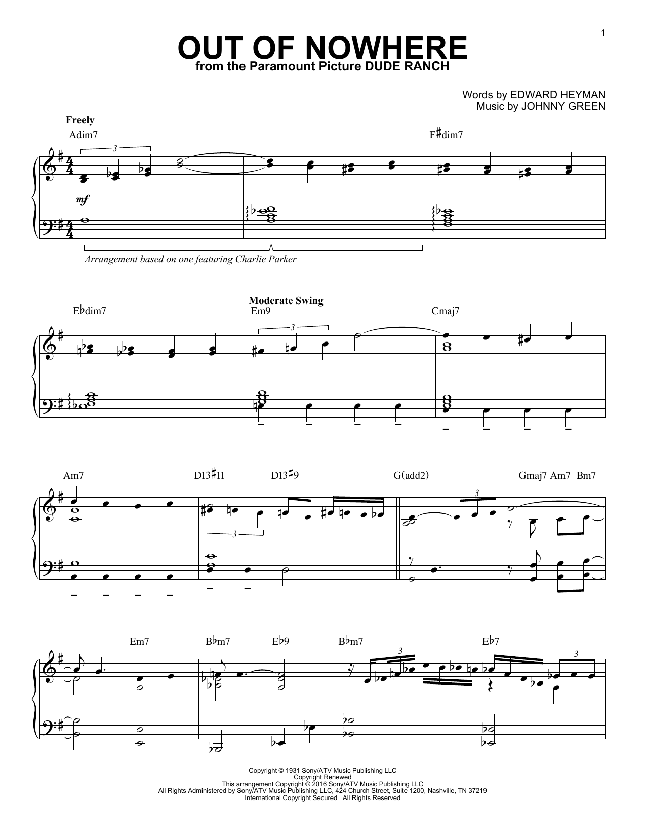 Download Charlie Parker 'Out Of Nowhere' Digital Sheet Music Notes & Chords and start playing in minutes