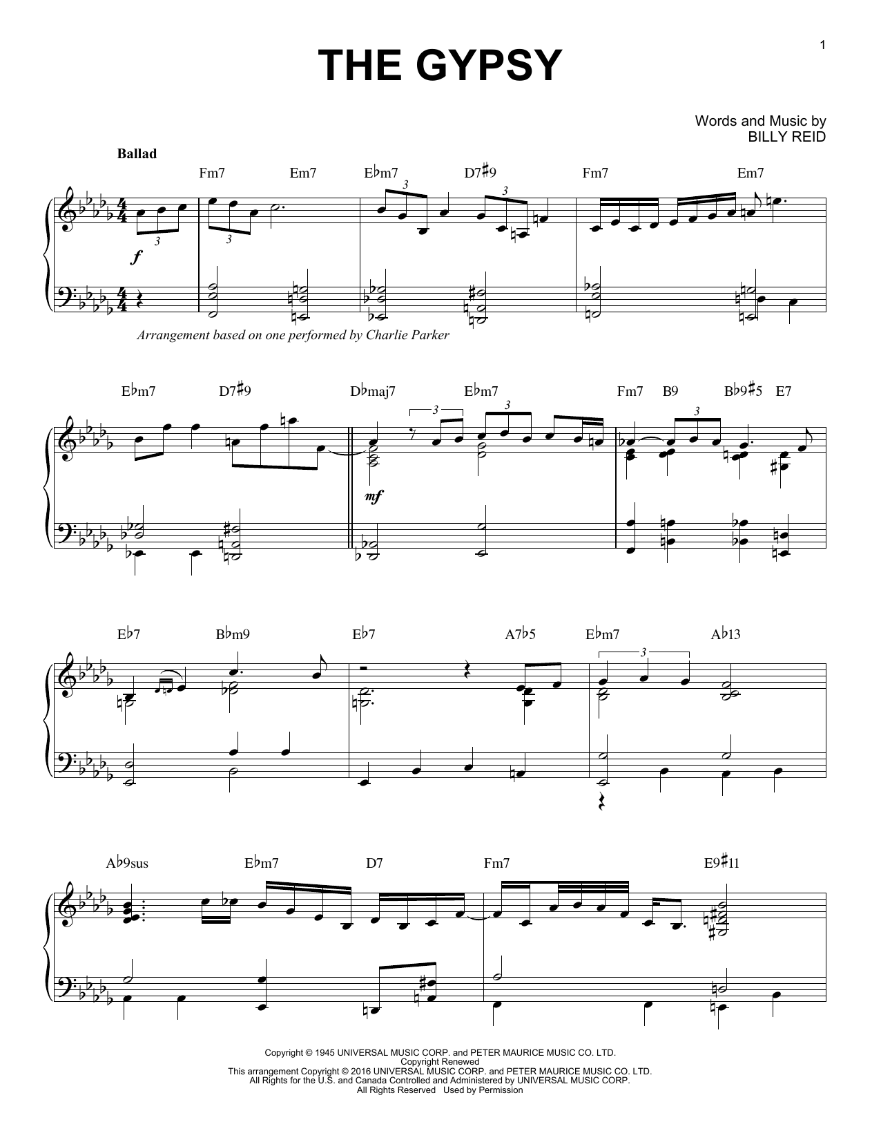 Download Charlie Parker 'The Gypsy' Digital Sheet Music Notes & Chords and start playing in minutes