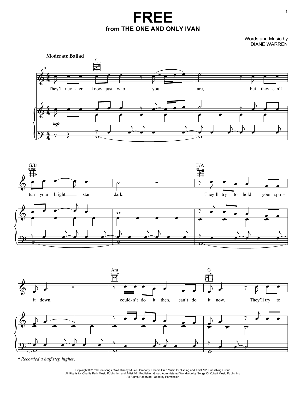 Charlie Puth Free (from Disney's The One And Only Ivan) sheet music preview music notes and score for Piano, Vocal & Guitar (Right-Hand Melody) including 7 page(s)