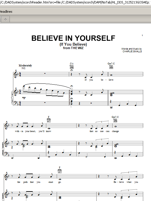 Charlie Smalls Believe In Yourself (If You Believe) sheet music preview music notes and score for Piano, Vocal & Guitar (Right-Hand Melody) including 4 page(s)