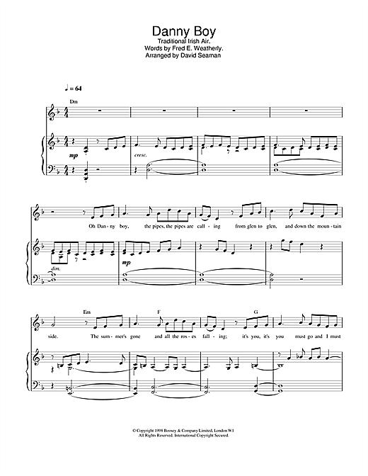 Charlotte Church Danny Boy (Londonderry Air) sheet music notes and chords