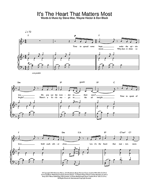 Charlotte Church It's The Heart That Matters Most sheet music notes and chords