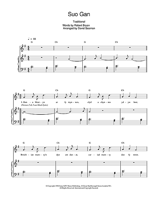 Charlotte Church Suo Gan sheet music notes and chords