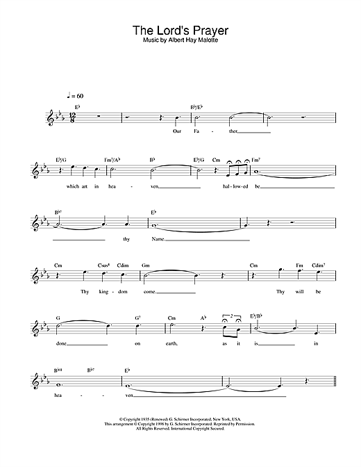 Charlotte Church The Lord's Prayer sheet music notes and chords