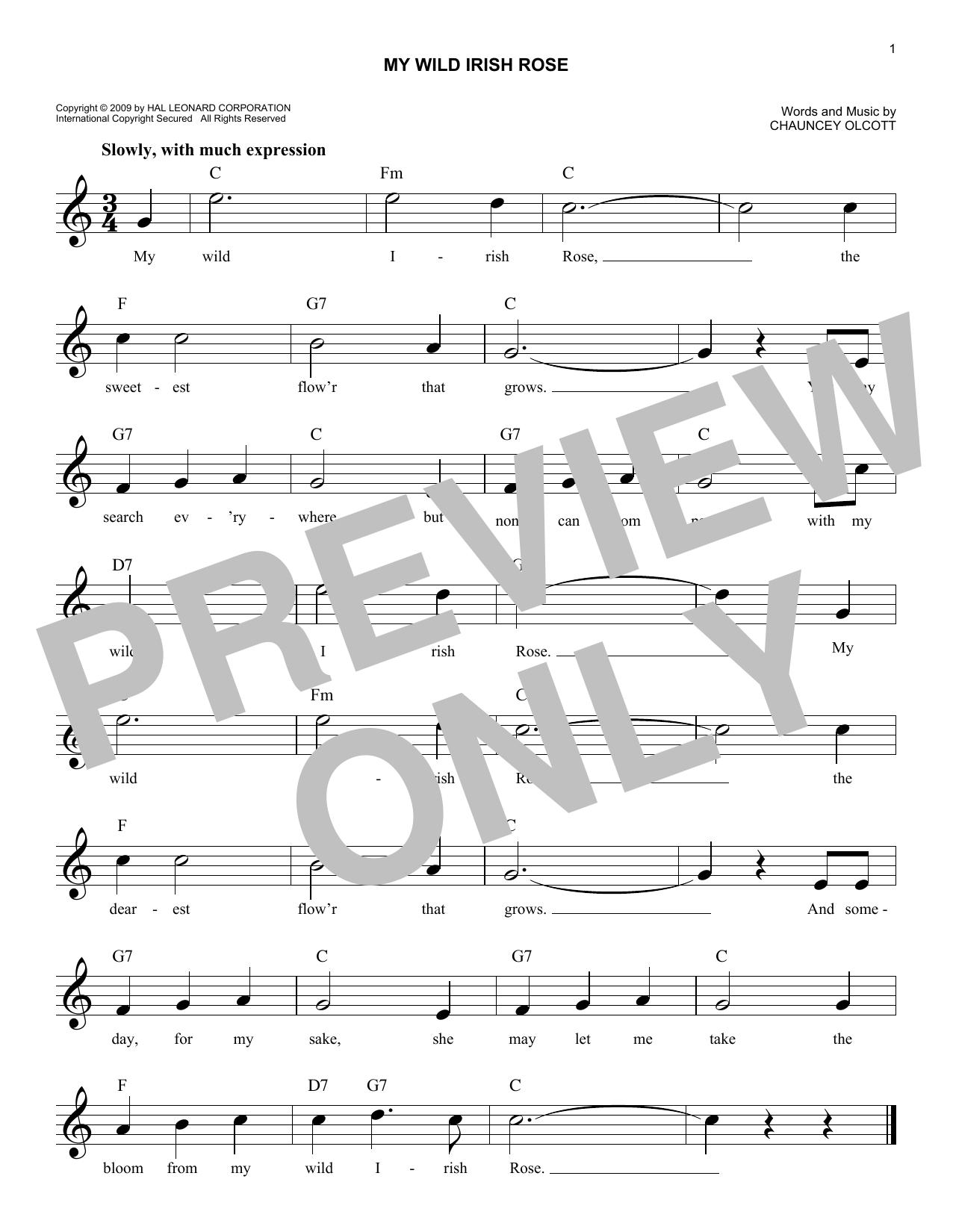 Chauncey Olcott My Wild Irish Rose sheet music notes and chords