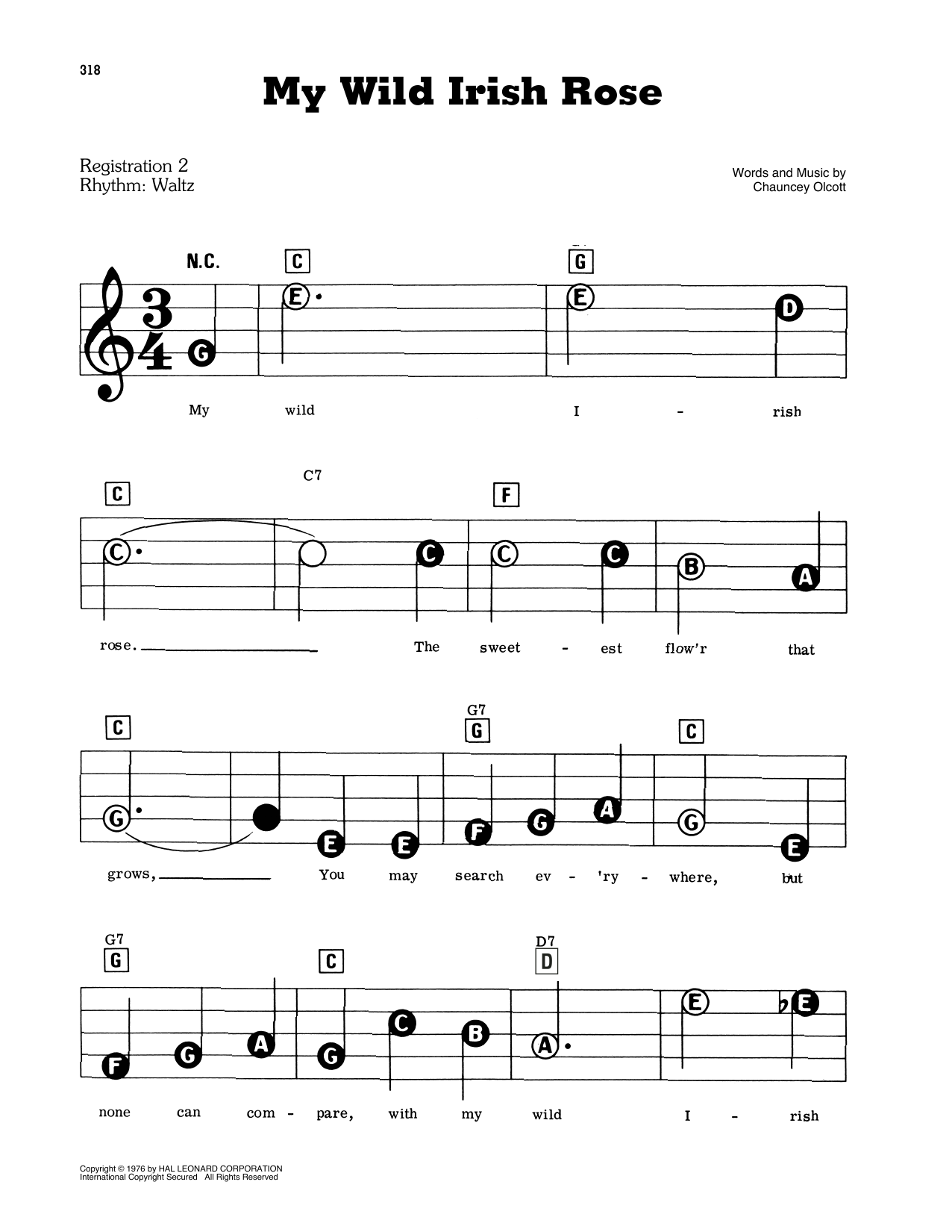 Chauncey Olcott My Wild Irish Rose sheet music preview music notes and score for Easy Piano including 2 page(s)