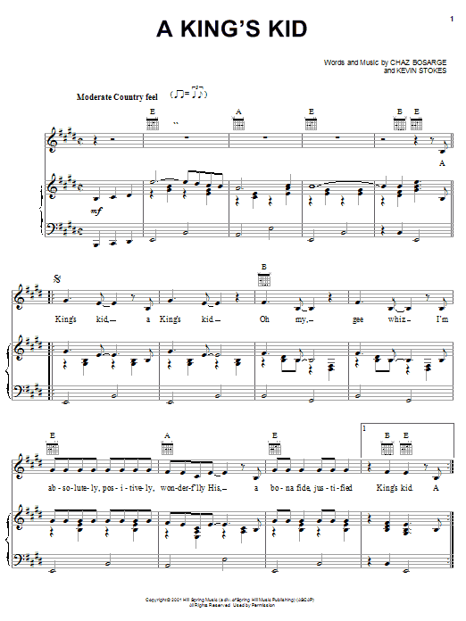 Chaz Bosarge A King's Kid sheet music preview music notes and score for Piano, Vocal & Guitar (Right-Hand Melody) including 3 page(s)