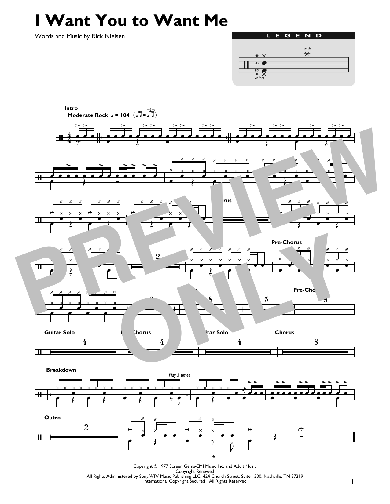 Cheap Trick I Want You To Want Me sheet music preview music notes and score for Guitar Tab including 8 page(s)