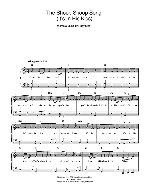 Cher The Shoop Shoop Song (It's In His Kiss) sheet music notes and chords