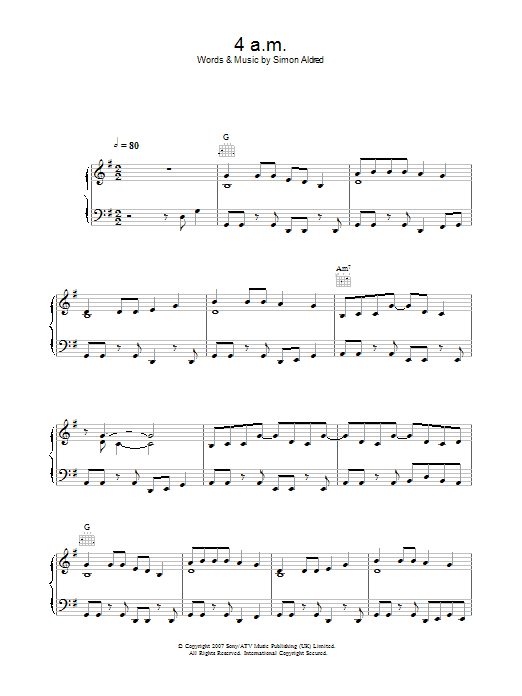 Cherry Ghost 4am sheet music preview music notes and score for Piano, Vocal & Guitar including 5 page(s)