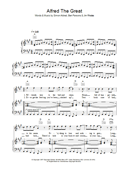 Cherry Ghost Alfred The Great sheet music preview music notes and score for Piano, Vocal & Guitar including 6 page(s)