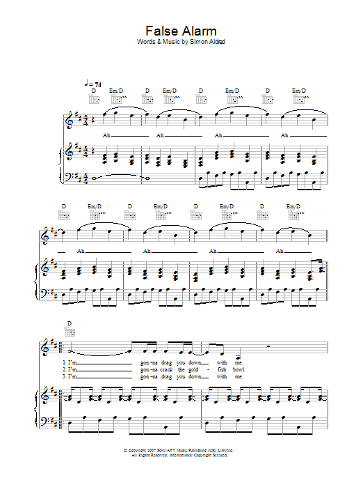 Cherry Ghost False Alarm sheet music preview music notes and score for Piano, Vocal & Guitar including 4 page(s)