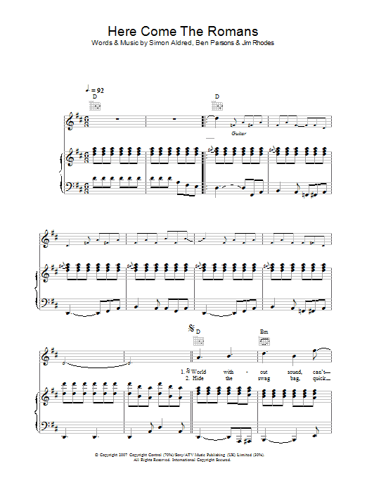 Cherry Ghost Here Come The Romans sheet music preview music notes and score for Piano, Vocal & Guitar including 6 page(s)