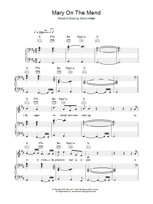 Cherry Ghost Mary On The Mend sheet music preview music notes and score for Piano, Vocal & Guitar including 5 page(s)