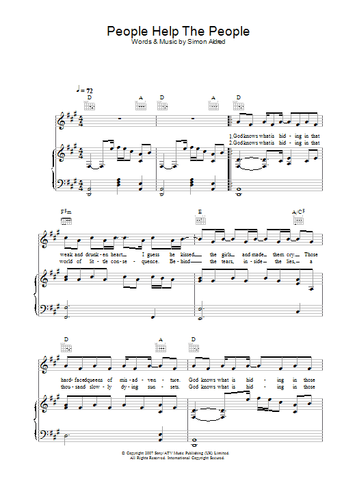 Cherry Ghost People Help The People sheet music preview music notes and score for Piano, Vocal & Guitar including 4 page(s)