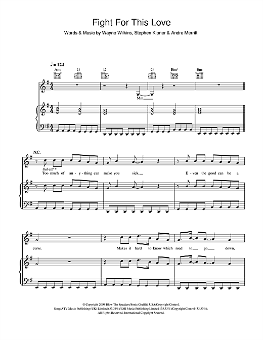 Cheryl Cole Fight For This Love sheet music notes and chords