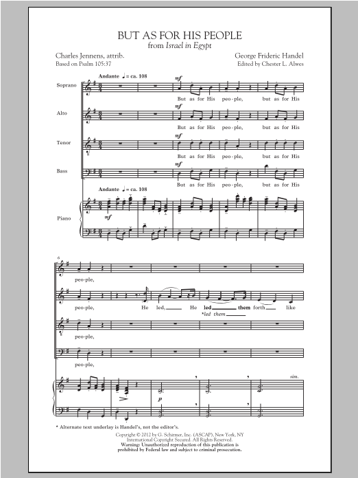 George Frideric Handel But As For His People sheet music preview music notes and score for SATB including 16 page(s)