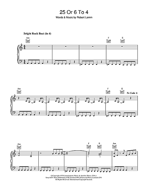 Download Chicago '25 Or 6 To 4' Digital Sheet Music Notes & Chords and start playing in minutes