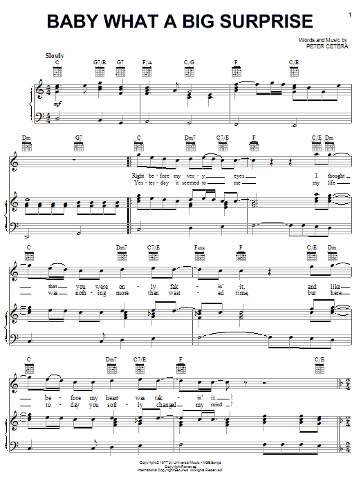Chicago Baby What A Big Surprise sheet music notes and chords