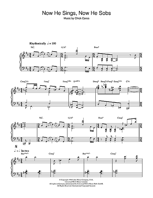 Download Chick Corea 'Now He Sings, Now He Sobs' Digital Sheet Music Notes & Chords and start playing in minutes