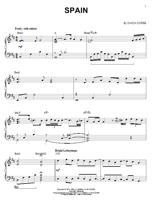 Download Chick Corea 'Spain' Digital Sheet Music Notes & Chords and start playing in minutes