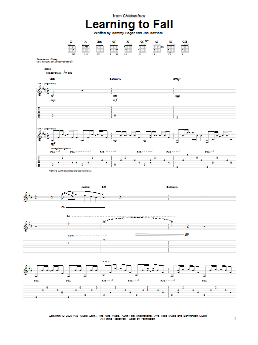 Chickenfoot Learning To Fall sheet music preview music notes and score for Guitar Tab including 12 page(s)