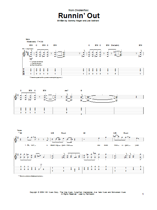 Chickenfoot Runnin' Out sheet music preview music notes and score for Guitar Tab including 9 page(s)