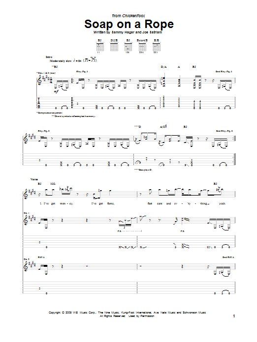 Chickenfoot Soap On A Rope sheet music preview music notes and score for Guitar Tab including 16 page(s)