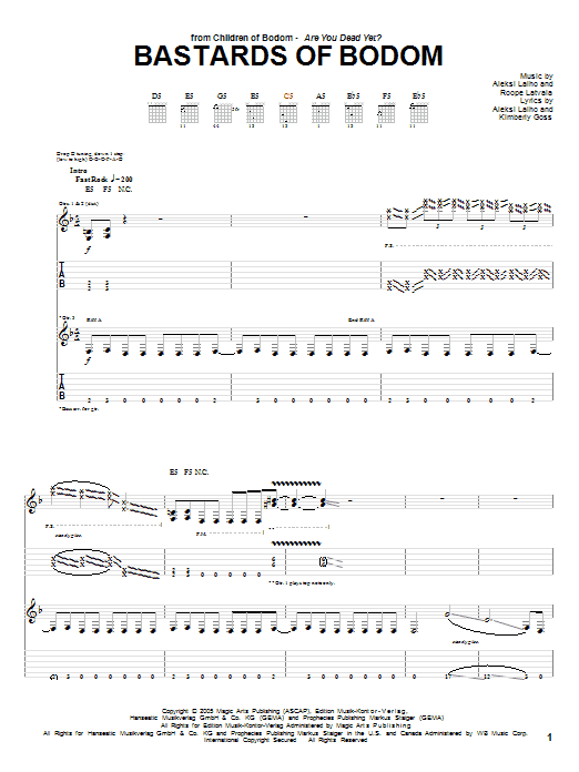 Children Of Bodom Bastards Of Bodom sheet music preview music notes and score for Guitar Tab including 10 page(s)
